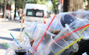 Một thùng rác ngập đầy ly và ống hút nhựa trên đường Phạm Ngọc Thạch, P6, Q.3, TP HCM. Ảnh: THANH YẾN