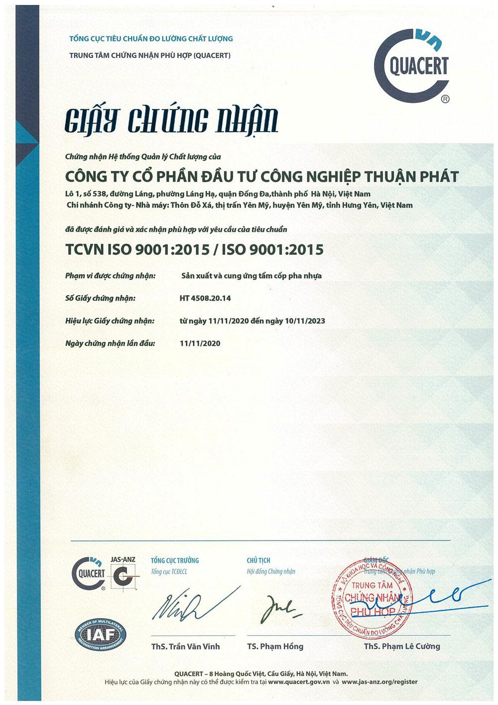 chứng chỉ Iso 9001:2015 được cấp cho Thuận Phát