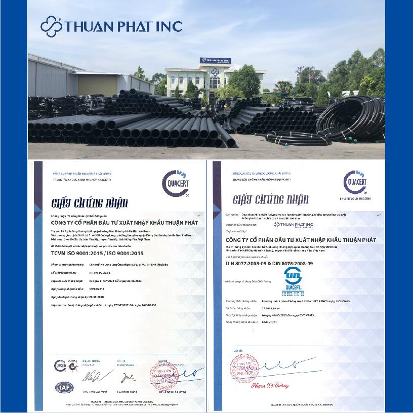 giấy chứng nhận ISO 9001 được cấp cho sản phẩm ống và phụ kiện nhựa Thuận Phát