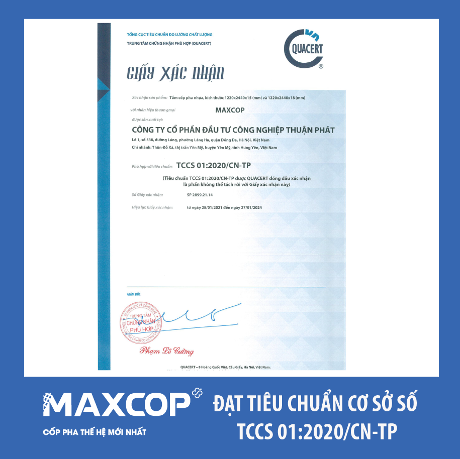 Tiêu chuẩn cơ sở đối với cốp pha nhựa Maxcop
